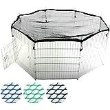 8-teiliges Freilaufgehege für Kleintiere inkl. Schutznetz und Tür, Welpengitter Ø ca. 145 cm (Farbwahl)