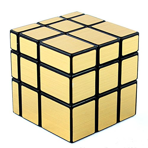 D-FantiX Shengshou Mirror Cube 3x3 Stickerless Magic Cube Puzzles Golden Black