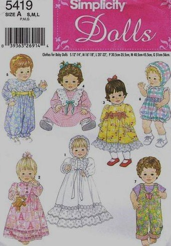 larger image Simplicity 5419 Baby Doll Clothes Sewing Pattern in Three Sizes Amazon.com