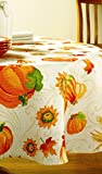 Pumpkin & Gourds Harvest Leaf SunFlowers Fall Autumn Fabric Tablecloth - 70 Round