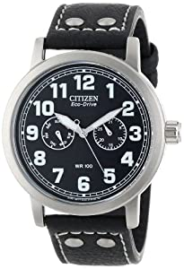 Citizen Watch Avion Men's Quartz Watch with Black Dial Analogue Display and Black Leather Strap AO9030-21E