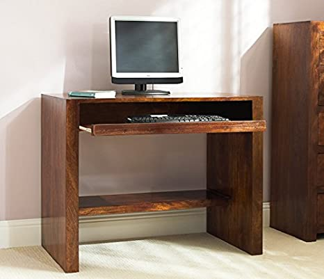 Solid Mango Wood Computer Desk | Handcrafted Indian Furniture