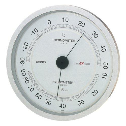 EMPEX (エンペックス) 温・湿度計 スーパーEX高品質温・湿度計 壁掛用 EX-2747 シャインシルバー