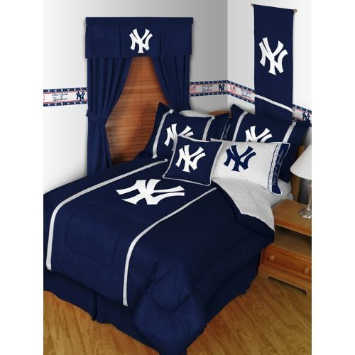 ny yankees mlb sidelines queen comforter sheet set 5 piece bedding