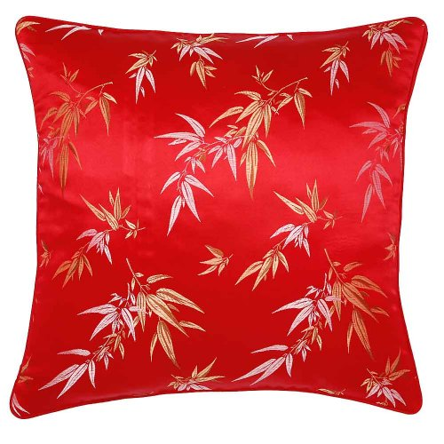 Decorative Handmade Silky Red & Gold Cushion Cover / Pillow Sham - Chinese Bamboo Leaves Design