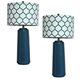 Urban Designs 2-Piece Ceramic Table lamp with Honeycomb Shade - Blue