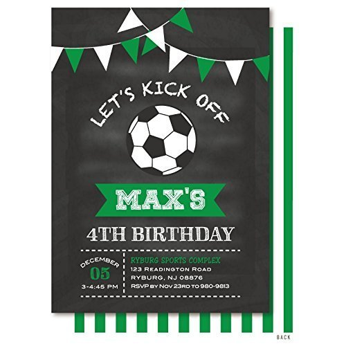 Soccer Ball Chalkboard Bunting Birthday Party Invitation