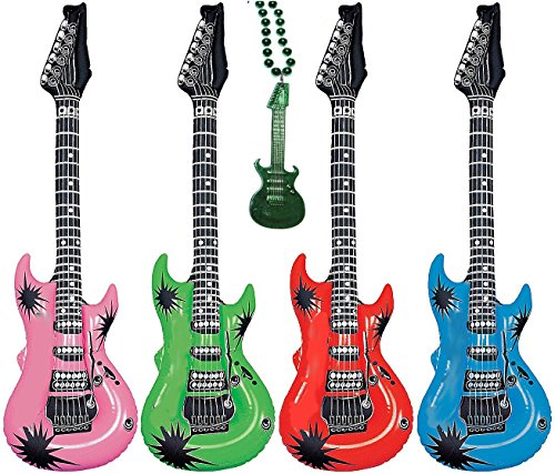20″ Pack of 6 Inflatable Rock Star Electric Guitars Assorted Colors, Plus 1 Guitar Necklace (Pack of 6)