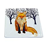 Paperproducts Design Winter Solstice Fox Square Appetizer Dessert Plate, 5.75-Inch, Multi-Color