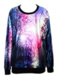 Pink Queen Womens Galaxy Print Roll Neck Pullover Sweatshirt