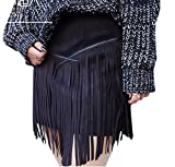 Youtobin Women Elegant Suede Leather Tassel Fringe Pencil Mini Party Club Skirt