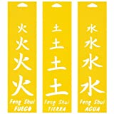 Set of 3 - 30cm x 8cm Reusable Flexible Plastic Stencils for Cake Design Decorating Wall Home Furniture Fabric Canvas Decorations Airbrush Drawing Drafting Template - Feng Shui Fire Earth Water Chinese Signs