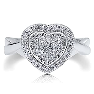 BERRICLE Sterling Silver AAAAA Cubic Zirconia CZ Heart Women Fashion Right Hand Ring