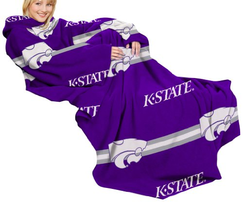 Ncaa Kansas State Wildcats Comfy Throw Blanket With Sleeves, Stripes Design