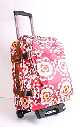 funky flowers red colour wheeled trolley bag travel bag on wheels luggage gym bag weekend bag. Black Bedroom Furniture Sets. Home Design Ideas