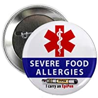 SEVERE FOOD ALLERGIES EpiPen Allergy Medical Alert 2.25 inch Pinback Button Badge from Creative Clam
