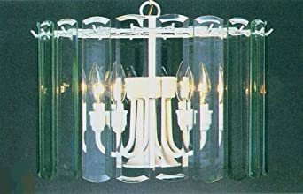 Volume Lighting V3038-15 Textured White 5 Light 1 Tier Chandelier with Clear Beveled Glass Shade