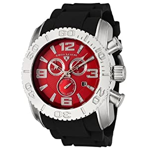 Click to buy Swiss Legend Watches: Mens 20067-05 Commander Collection Chronograph Red Dial Black Rubber Watch from Amazon!