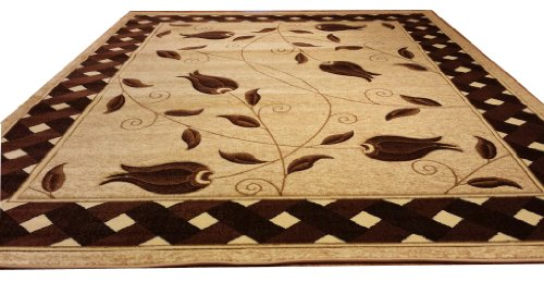 J711 Contemporary Modern Floral Hand Carved Beige Brown 5x8 Actual Size 5'3x7'2 Rug