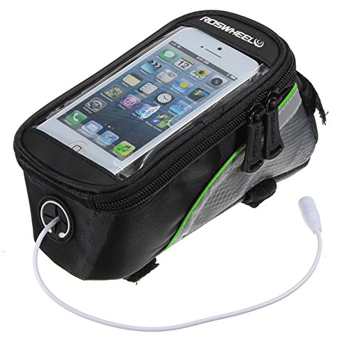 """Roswheel Bicycle Bike Frame Pannier And Front Tube Cell Phone Bag Green With Headphone Extension Cable (5.5"""")"""