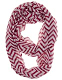 Cotton Cantina Soft Chevron Sheer Infinity Scarf (Red/White)