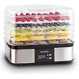 Klarstein Valle di Frutta Essicatore Alimenti Frutta Verdura Carne Acciaio Inox 250W 5 Ripiani Argento