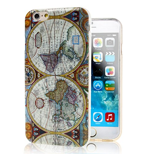 iphone 6 Plus Case , TUTUWEN World Map Style Soft TPU Gel Skin Case Cover for Apple iphone 6 Plus (5.5 inches)