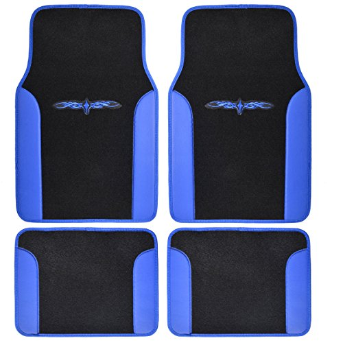 A Set Of 4 Universal Fit Plush Carpet With Vinyl Trim Floor Mats For Cars / T... front-212794