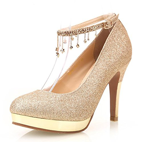 Littleboutique Shimmery Wedding Pumps Round Toe Platform Heels With Ankle Strap Evening Dress Shoes For Women Gold 9