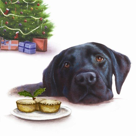 Mince Pies Black Labrador Christmas Cards Pack