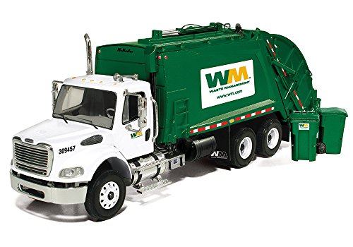 First Gear 1/34 scale Diecast Collectible Waste Management Freightliner M2 with McNeilus Rear Load Refuse Truck with Trash Carts (#10-3287T) (Diecast First Gear compare prices)