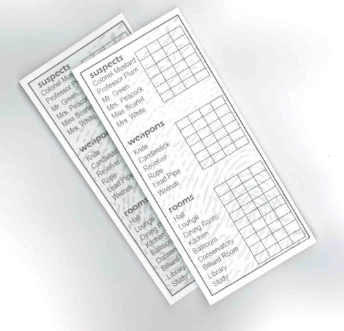 2 Classic Clue Replacement Card Notepad Sheets