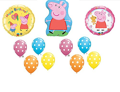Check Out This 11pc. Peppa Pig Happy Birthday Balloon Set Bouquet