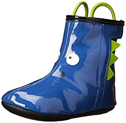 Robeez Dennis the Dinosaur Rain Boot (Infant), Cobalt Blue, 6-9 Months M US Infant