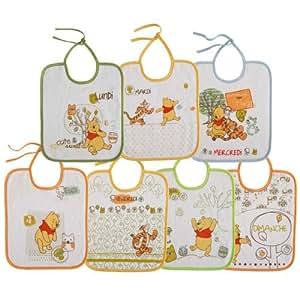 Babycalin Lot de 7 Bavoirs Doodle Craft Fermeture Lacets
