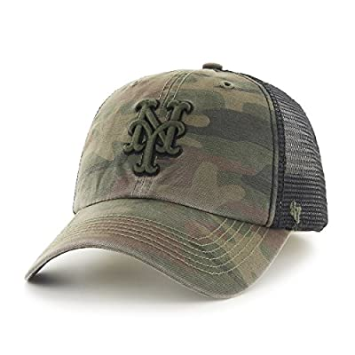 MLB New York Mets Beaufort Closer Stretch Fit Hat, One Size, Sandalwood
