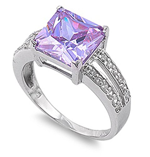 Sterling Silver Woman'S Pink Cz Engagement Ring Unique Comfort Fit 925 Band 11Mm Size 10 Valentines Day Gift