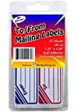 The Classics To and From Mailing Label, White/Blue/Red, 25 Sheets, 50 Labels (TPG-463)
