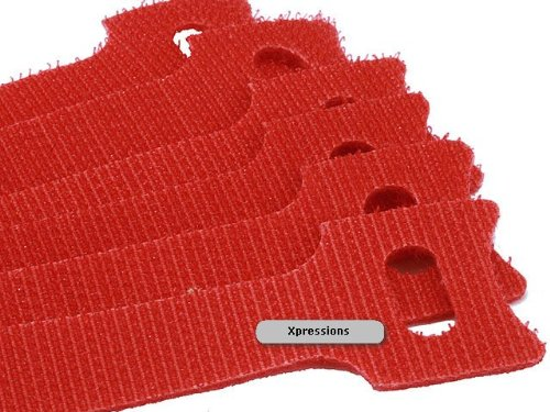 9 in Velcro Hook and Loop Cable Ties 50/Pack - Red