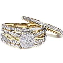 buy 1/2Cttw Diamond Wedding Ring Set 10K Yellow Gold Wide 11.5Mm Infinity Style Bridal Rings