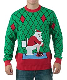 FunQi Gifts Men\'s Toilet Santa Ugly Christmas Sweater X-Large Green