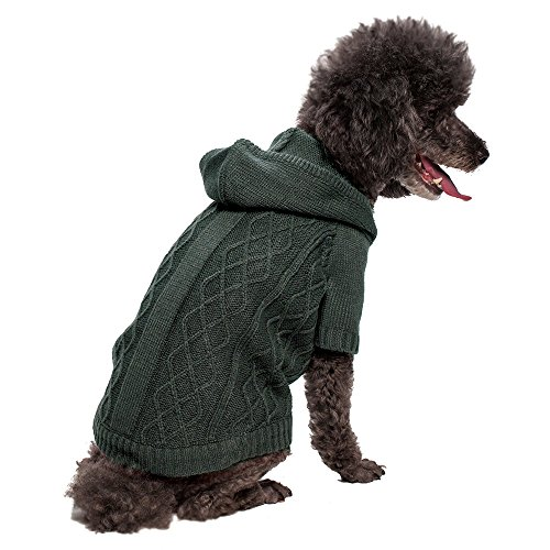 Blueberry Pet 12-Inch Elite And Cool Cable Hoodie Sweater For Dogs, Medium, Gray front-866134