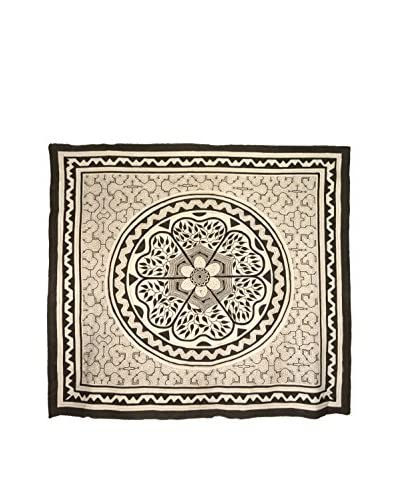 Uptown Down Found Floral Motif Fabric Panel, Charcoal Grey