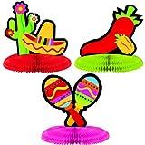 """Amscan Fiesta Cinco de Mayo Assorted Mini Honeycomb Centerpiece Decoration (3 Piece), Multi Color, 7 x 5.5"""""""