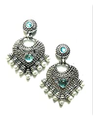 Ethnic Fashion Earrings With Pearl And Coloured Crystals In Silver Finish, Sky Blue