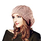 Tinxs Lady's Warm Knit Braided Ski Cap Baggy Beanie Crochet Hat