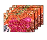 meSleep Orange Kantha Table Mats