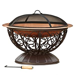 Rst Outdoor Copper Fire Pit With Cover Amazon Co Uk