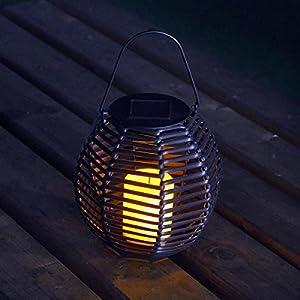 Solar Powered Rattan Effect Candle Lantern Light by Bonningtons