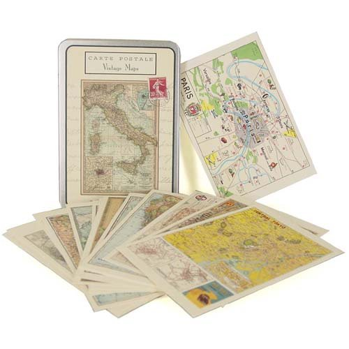Vintage Maps Cavallini Carte Postale tin of 18